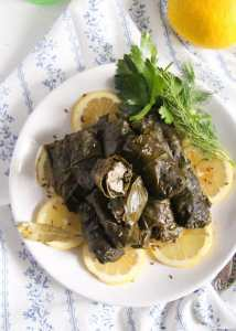 %name Stuffed Vine Leaves with Fish, Bacon and Rice
