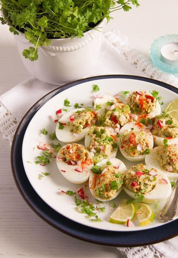 deviled eggs guacamole 10 Deviled Eggs with Mexican Avocado/ Guacamole Filling
