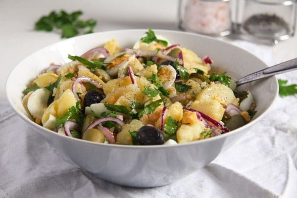 romanian potato salad with eggs