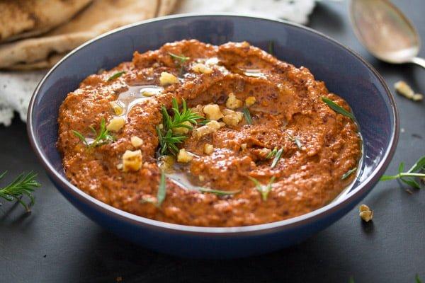 bowl of muhammara spread