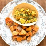 tofu scramble with white bean hollandaise