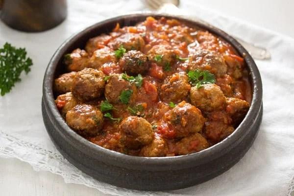 Spanish albondigas in tomato sauce