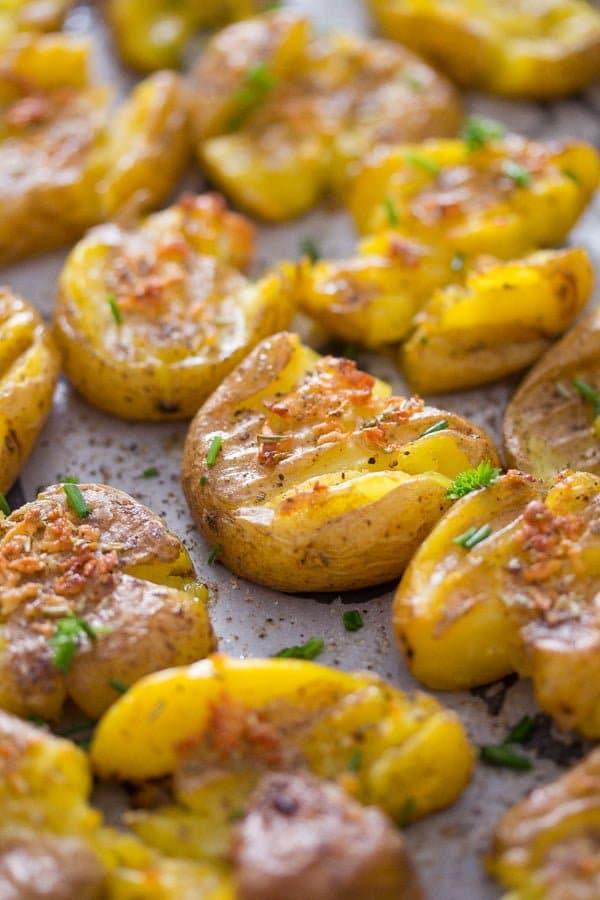 smashed potatoes 2 How to Make Garlic Smashed Potatoes – Potato Side Dishes