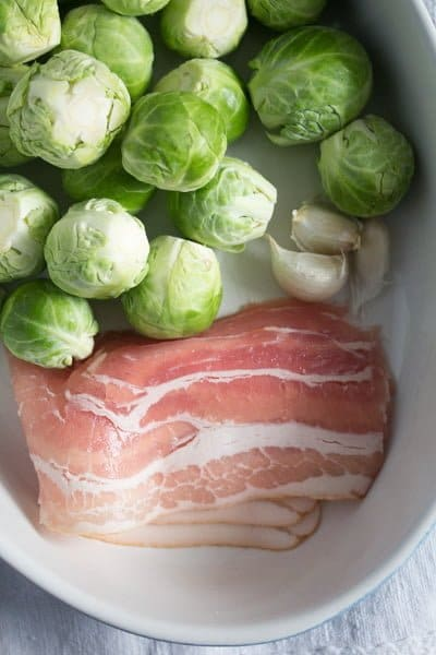 brussels sprouts garlic 1 Brussels Sprouts with Garlic and Bacon