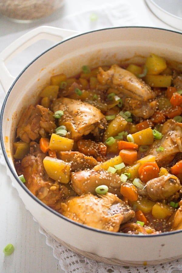 korean chicken stew 7 Spicy Korean Chicken Stew with Potatoes
