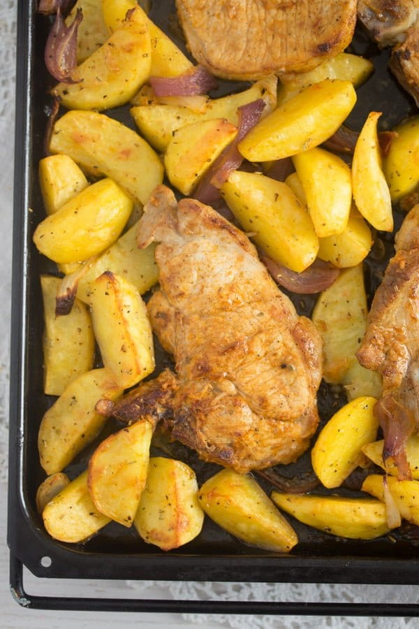 baked pork chops potatoes 6 Oven Roasted Pork Chops with Potatoes – Easy Sheet Pan Meal