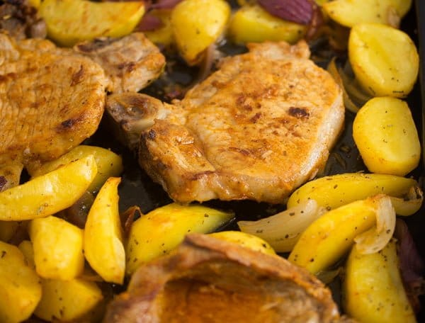 baked pork chops potatoes 7 Oven Roasted Pork Chops with Potatoes – Easy Sheet Pan Meal