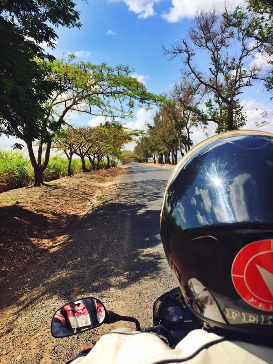 Driving on a boda boda in Tanzania