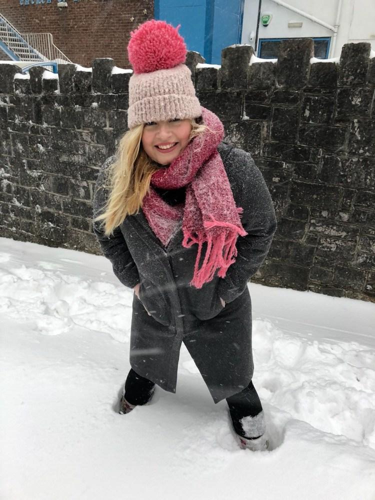 Tara Povey in the snow in Devon