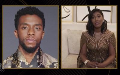 Chadwick Boseman's wife Taylor Simone Ledward Accepts Golden Globe Award on His Behalf