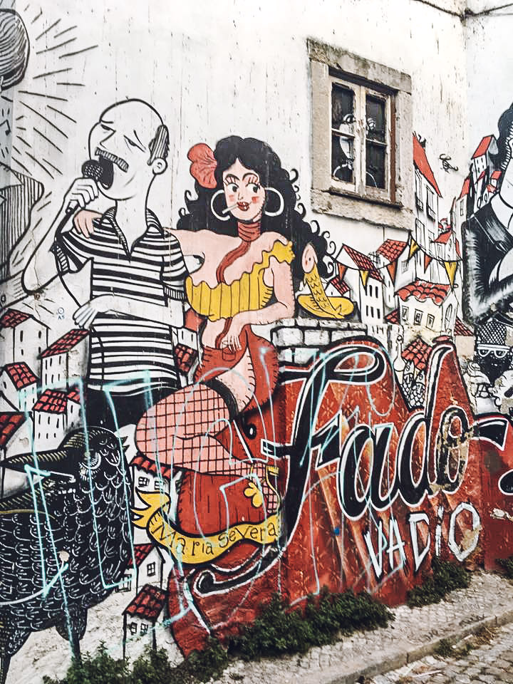 Fado street art seen on Taste of Lisboa food tour in Lisbon