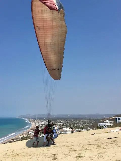 paragliding - landing in Crucita, Ecuador