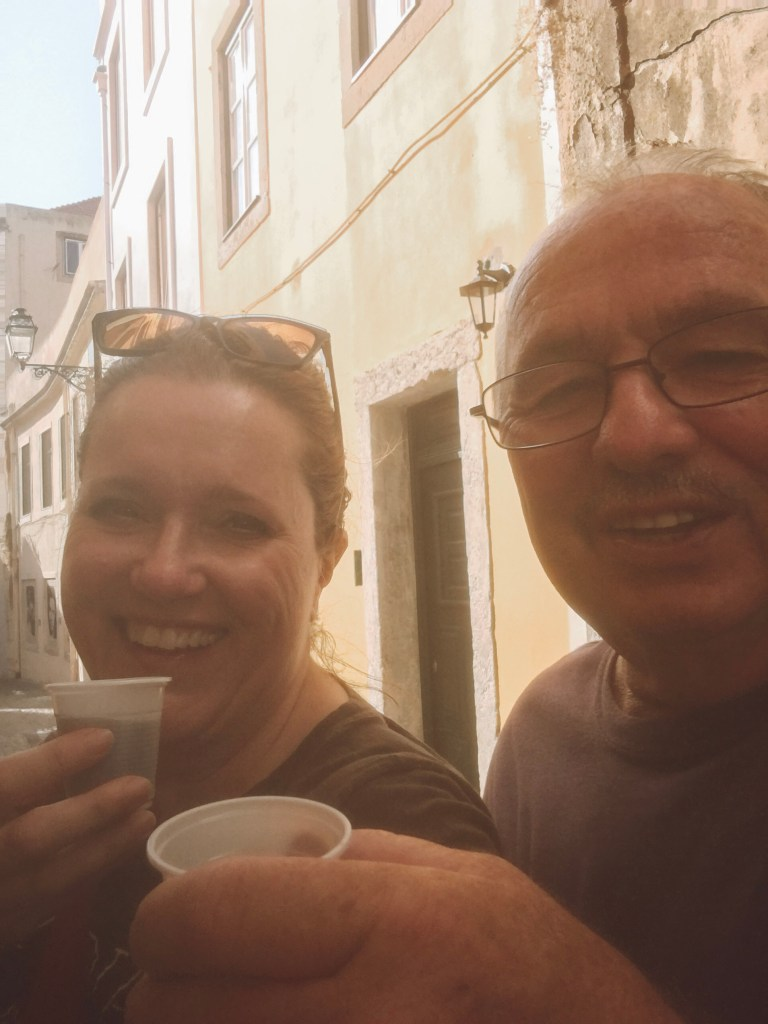 drinking Ginjinha in Lisbon, Portugal while on a Taste of Lisboa food tour