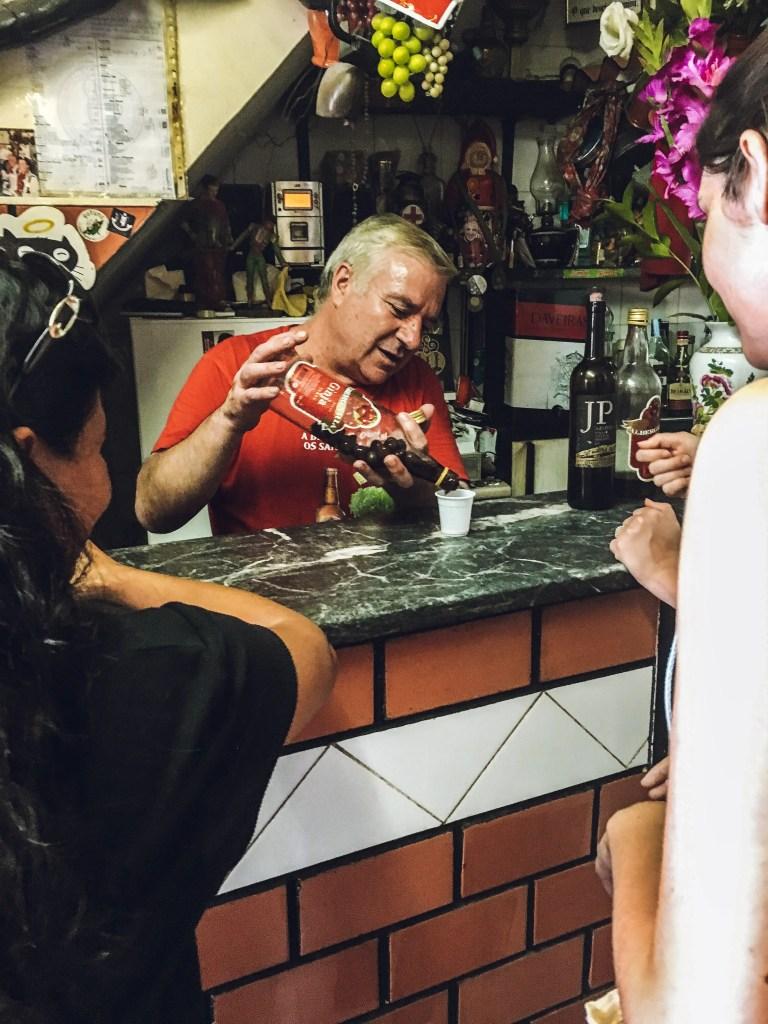 Ginjinha bar in Lisbon, Portugal on a Taste of Lisboa food tour