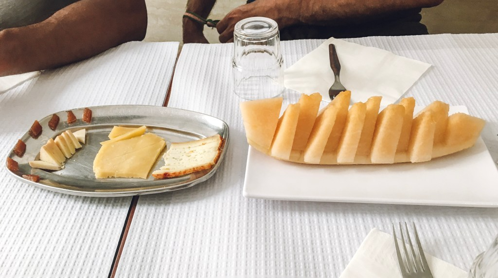 cheese and melon at Ze Dos Cornos Lisbon, Portugal Taste of Lisboa food tour