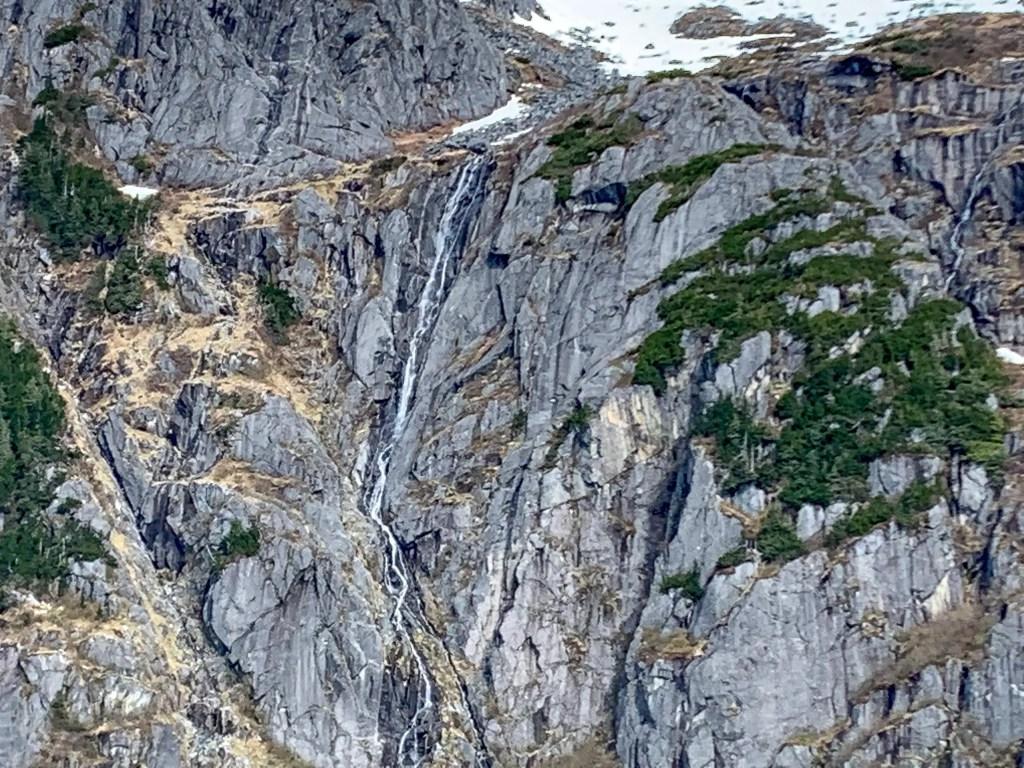 Mountain waterfall Herbert Glacier, Juneau, Alaska