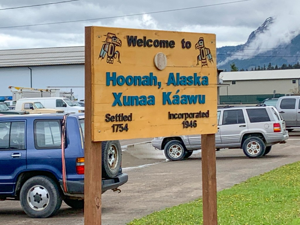 Town sign in Hoonah, Alaska