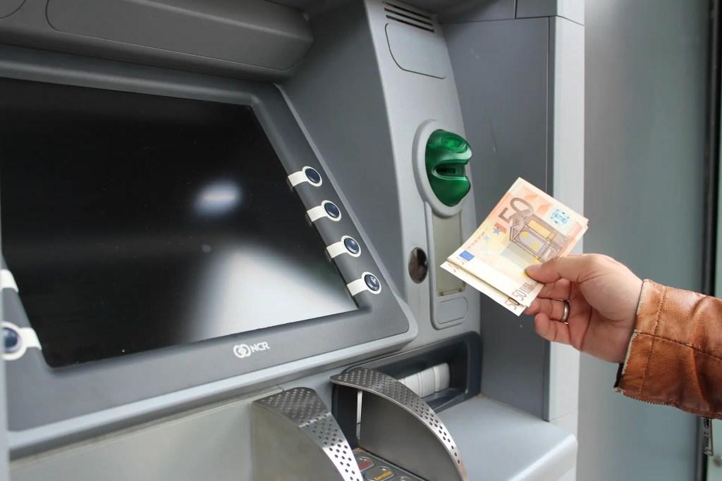 ATM dispensing money
