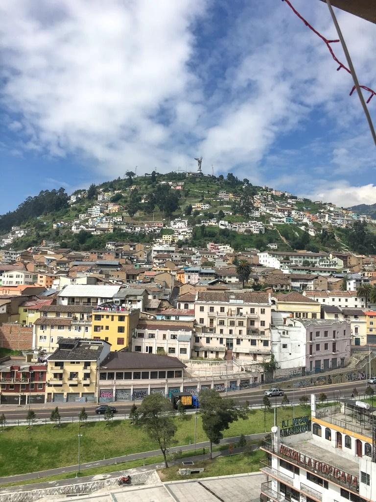 La Virgen del Panecillo and view of Quito, Ecuador