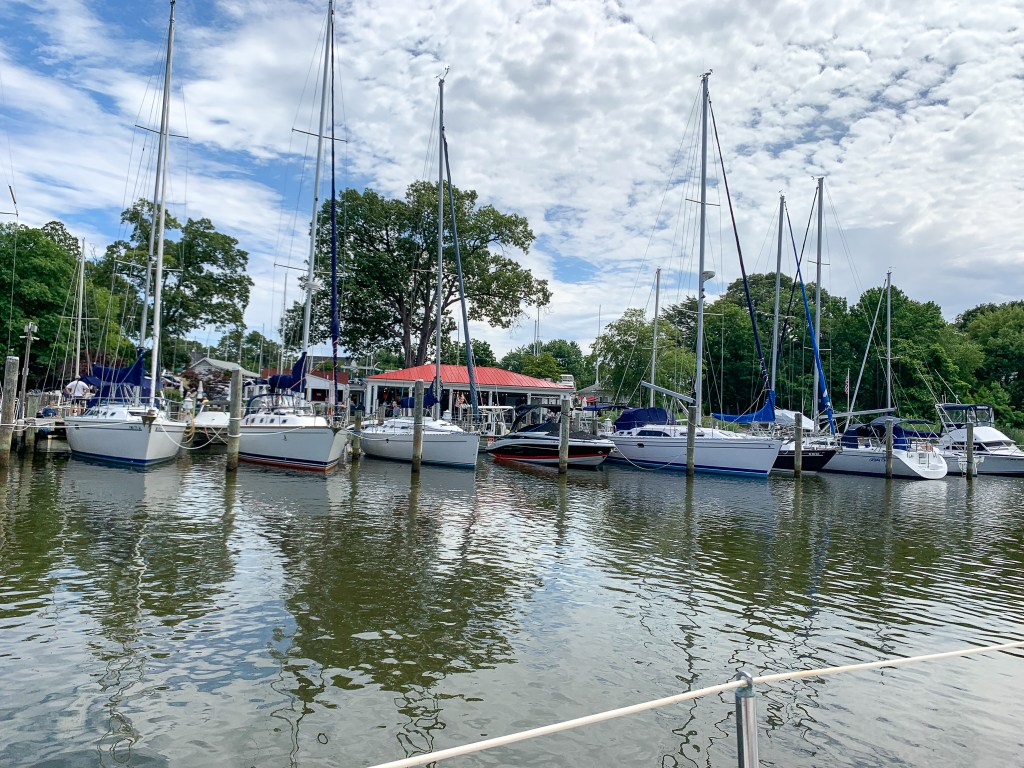 boats in front of restaurant in Arnold, Maryland