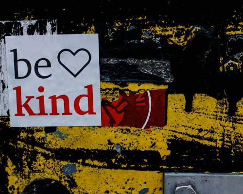 Mural with Be Kind sticker