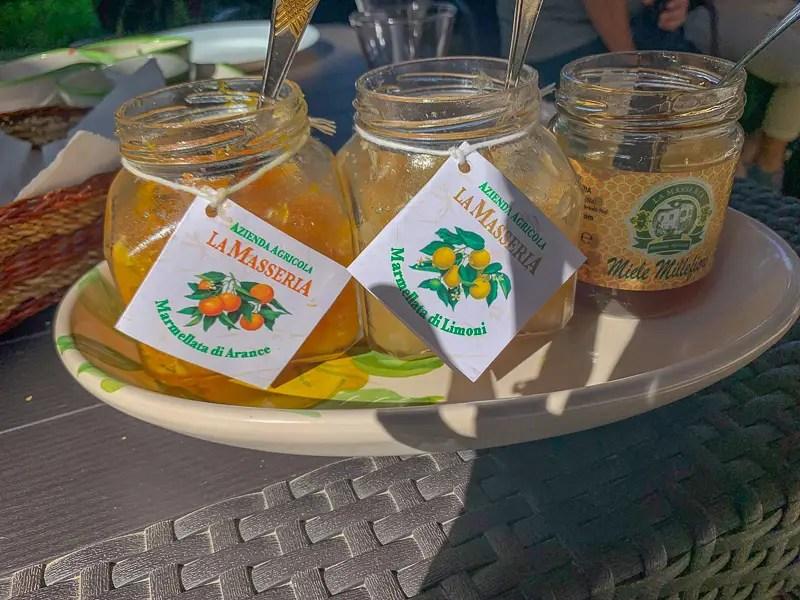 Platter of locally made marmalade and honey at La Masseria farm in Sorrento.