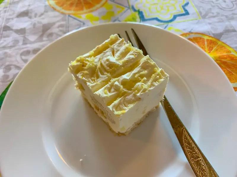 lemon tiramisu on a plate eaten during a farm to table tour in Sorrento