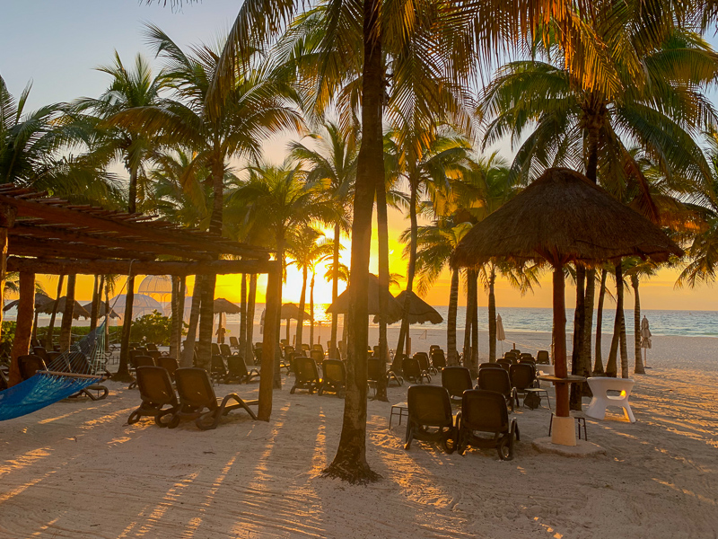 Sunrise at beach at an all-inclusive resort in Playa del Carman, Mexico.