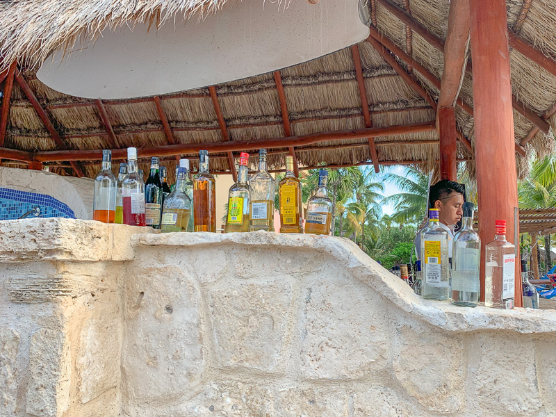 Bar at an all-inclusive resort in Mexico.