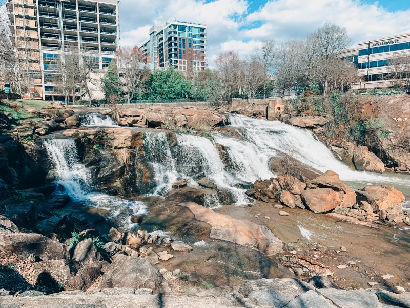 Falls Over the Reedy Park in downtown Greenville, South Carolina.