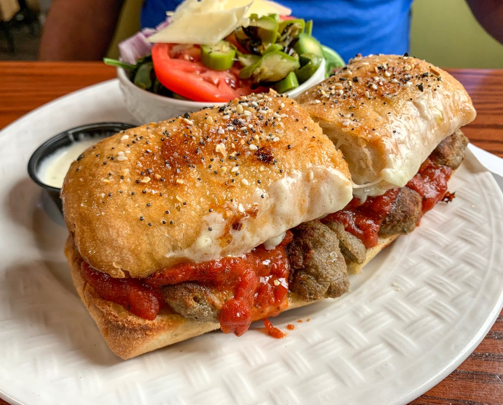 Meatball sub at Pietana restaurant.  One of the many restaurants in Lexington.