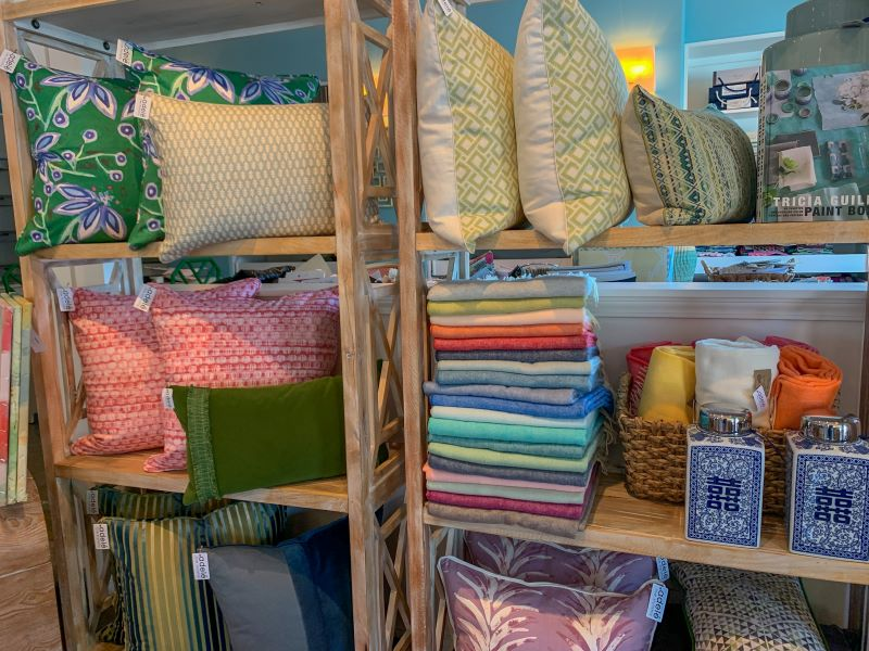 Shelves with pillows and other home decorative items at a local store in Lexington, Ky. One of the best places to shop in Lexington.