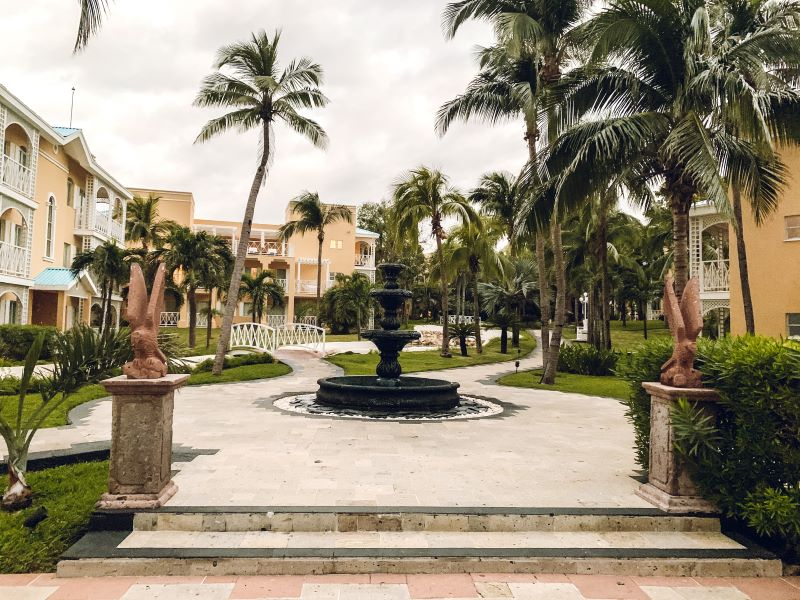 One of the many water features at the Royal Hideaway Playacar.