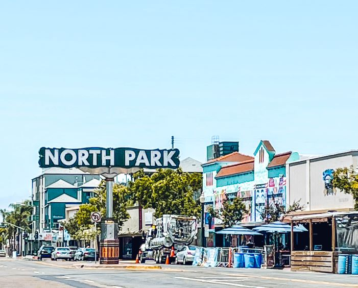 North Park sign along University in San Diego's North Park neighborhood. San Diego food tours