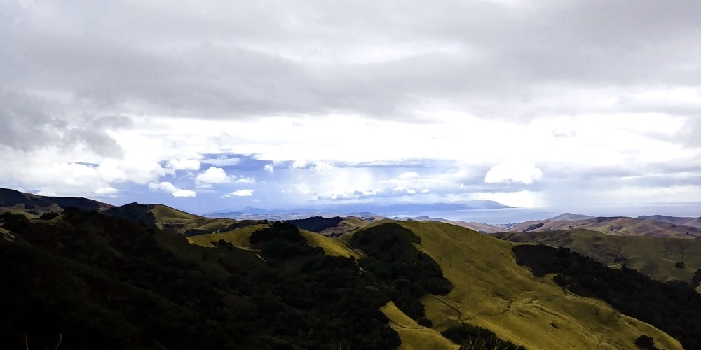 The Pacific Ocean beyond the coastal mountains. Paso Robles CA.