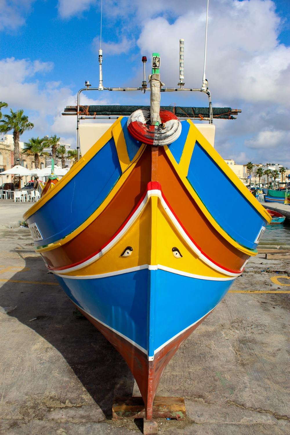 A luzzu, the traditional fishing boat of the Maltese Islands.