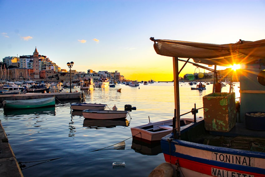 Marsaskala Harbor sunrise and boats