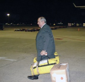Ambassador Rafi Gamzou carry things himself, to make help even go faster.