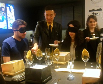 Blindfolded guests savored cheese and chocolate pairings ©WhereNYC