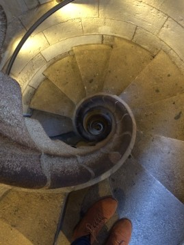 Spiral staircase in one of the towers