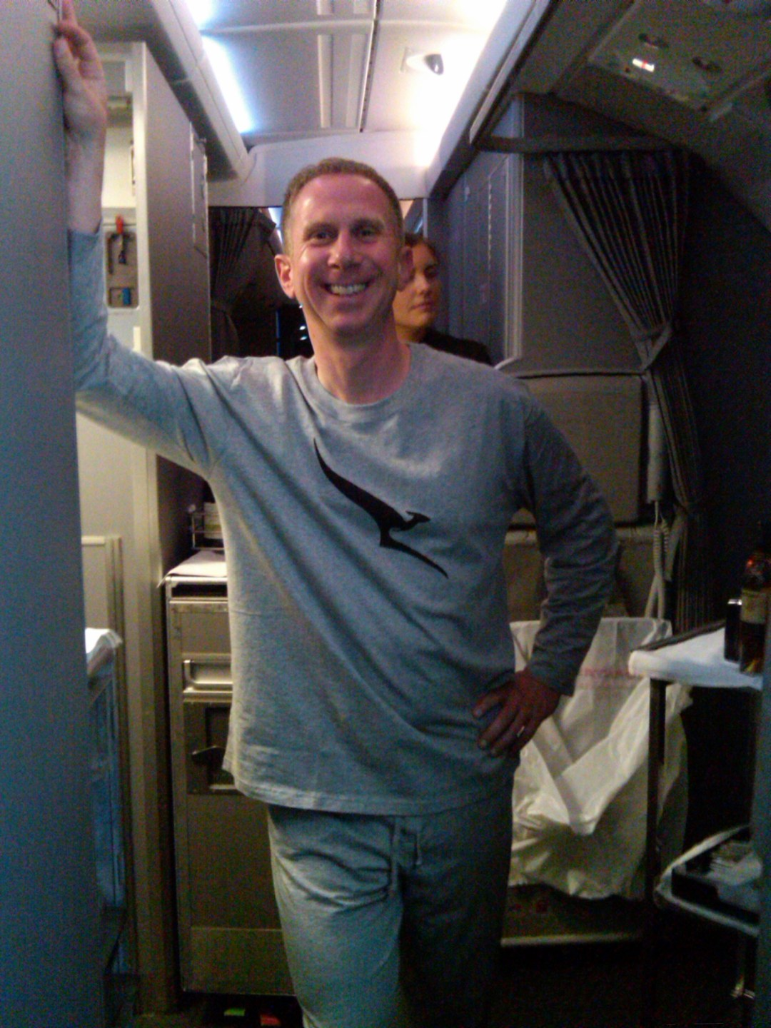Andy in PJs aboard the A380