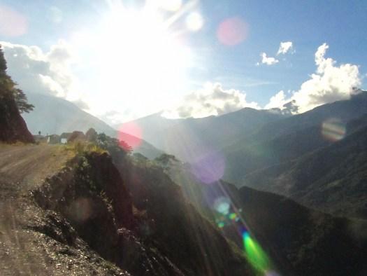 Sun shining on the Death Road