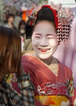 A Maiko entertaining guests at Maruyama Park, Kyoto