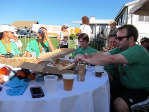 Enjoying our hard-earned pizza and beer at the finish