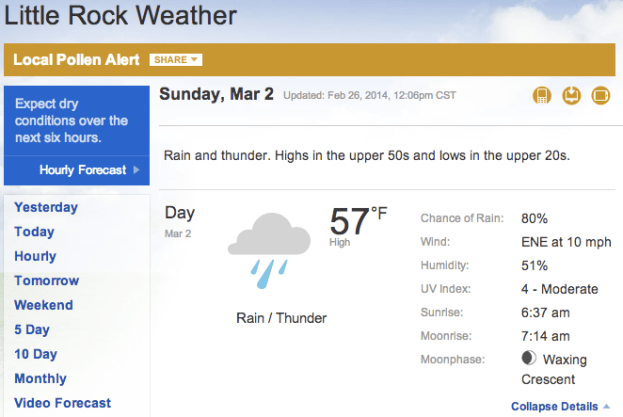 Little Rock Marathon weather prediction 2014