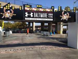 Found it! Baltimore Marathon Finish Line (the day before the race).