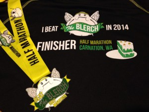 Back of shirt and medal for Beat the Blerch Half Marathon