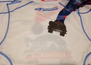Back of the Houston Marathon 2015 shirt and medal