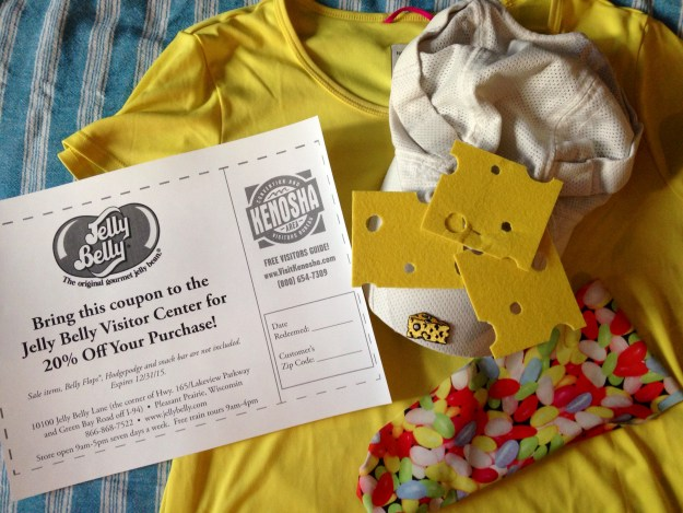 Wisconsin Marathon outfit and jelly belly coupon from Kenosha website