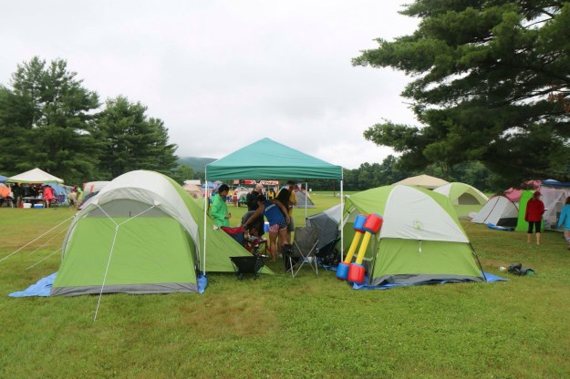 Our campsite - canopy flanked by tents.